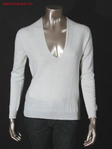 Jersey pullover with saddle shoulder / Rechts-Links Pullover mit Sattelschulter
