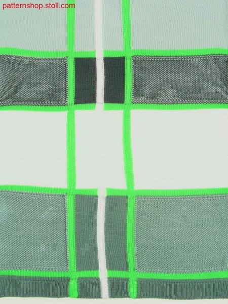 Intarsia swatch with stripes and jersey structures / Intarsia Musterausschnitt mit Streifen und Rechts-Links-Strukturen