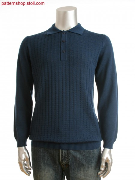 Fully Fashion  men's polo-neck sweater with purl structureon front