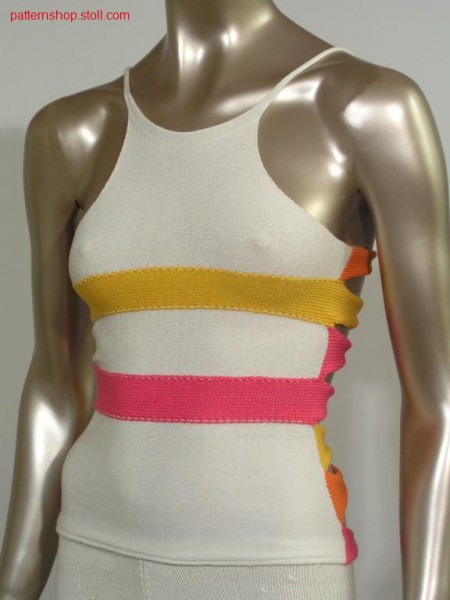 4-Colour top with knitted bands / 4-Farbiges Top mit angestrickten B