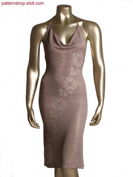 Fully Fashion dress,2 colour structure with pointelle,transfer for motif
