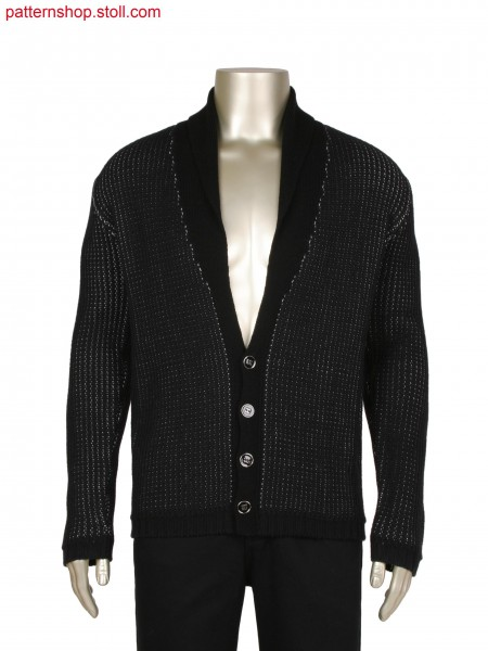 Fully Fashion jacket in 2 colours, half cardigan structureand alternate pick up structure for inside
