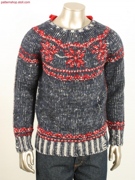 Pullover in plated jersey with borders / Pullover in plattiertem Rechts-Links mit Bord