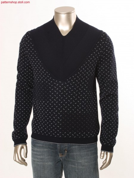 Fully Fashion-intarsia-jacquard pullover with colour change / Fully Fashion-Intarsia-Jacquard Pullover mit Farbwechsel