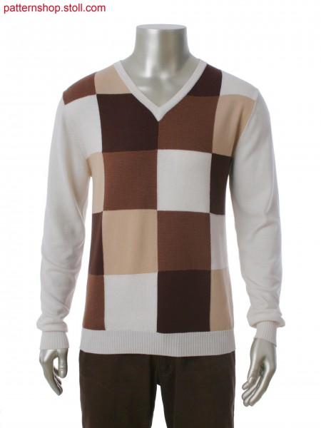Fully Fashion V-neck pullover in 4-color intarsia