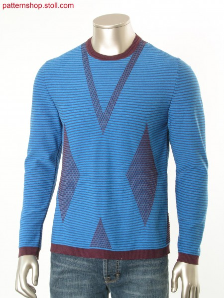 Ringed Fully Fashion pullover in plated jersey / GeringelterFully Fashion Pullover mit plattiertem Rechts-Links