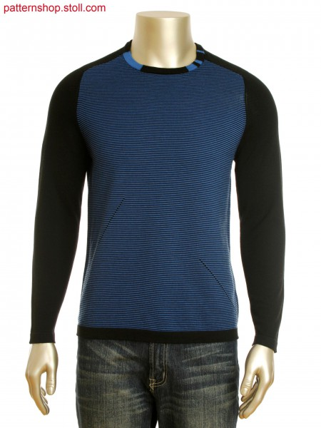 Fully Fashion 2-color stripe intarsia pullover