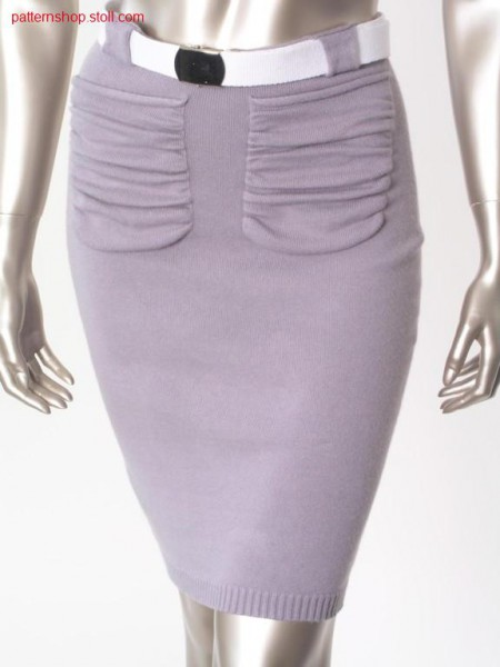 Tight jersey skirt with gathered pockets / Enger Rechts-Links Rock mit gerafften Taschen
