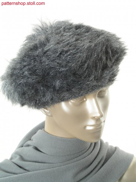 Reversible Beret in fake fur with floated fancy yarn / Wende-Baskenm
