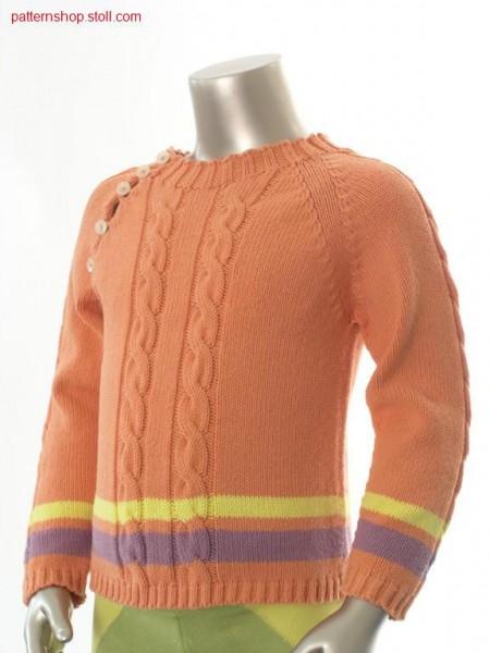Children's raglan pullover with 2x4, 2x3 cables / Kinder Raglanpullover mit 2x4, 2x3 Z