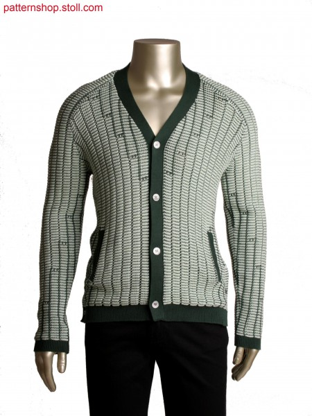 Fully Fashion cardigan with pockets, line optic by 2 colour structure stripe, tuck and holding loops