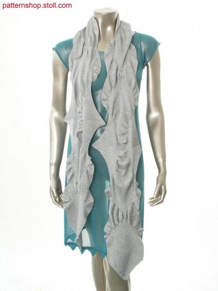 Scarf gathered by racked and tucked pattern in herringbonedesign / Schal mit Raffungen durch Knieversatzmuster