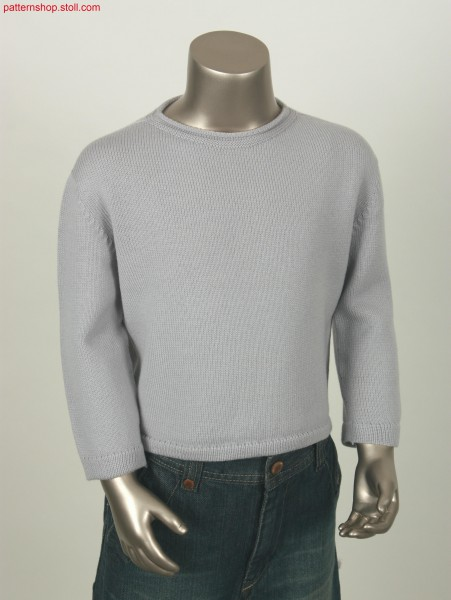 Jersey pullover with French shoulder and crew neck / Rechts-Links Pullover mit Franz