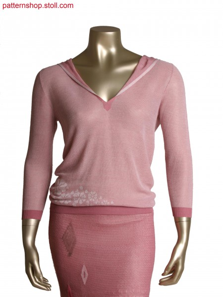 Fully Fashion hooded top in 2 colour double pique structure,motif in half milano rib