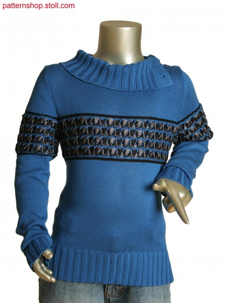 Fully Fashion kids pullover with 3-color tuck structure.Collar in purl and rib structure with integral button hole.