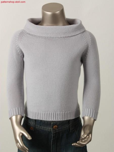 Jersey raglan pullover with boat neckline / Rechts-Links Raglanpullover mit Kragenerweiterung