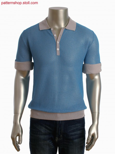 Fully Fashion 2-color shirt with fancy structure and placketwith integral button holes