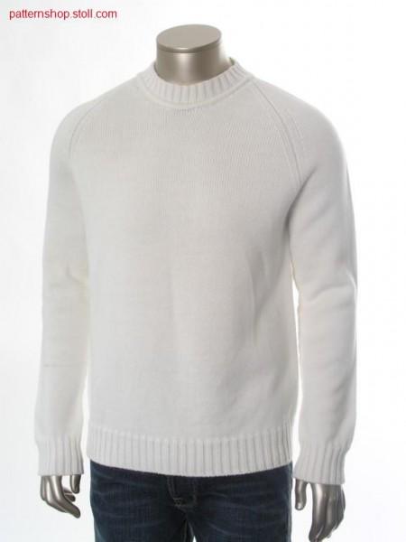 Jersey raglan pullover with deep round neck / Rechts-Links Raglanpullover mit tiefem Rundhals