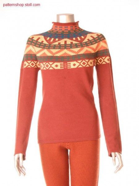 Fair isle pullover with 2-colour float jacquard stripes / Fair Isle Pullover mit 2-farbigen Jacquard-Ringeln
