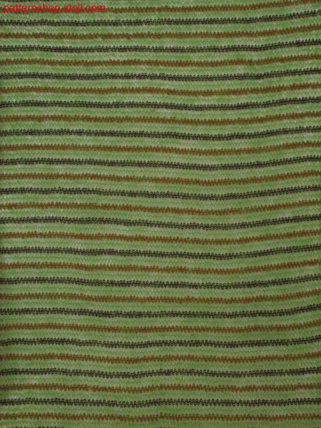 Knitted fabric in 3-color structure with stripes and cast off