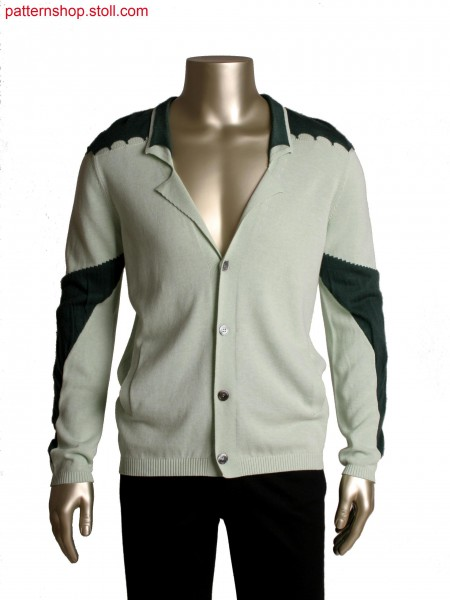 Fully Fashion jacket with pockets, inegrated placket, layer technique at elbow and shoulder, moved sleeve seam