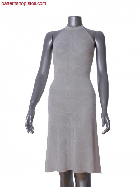 Fully Fashion halter neck dress in 2-color intarsia with pointelle and purl structure