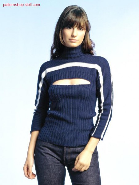 2x2 rib-jersey pullover with front cut-out / 2x2 Ripp-Rechts-Links Pullover mit