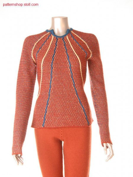 Fully Fashion pullover with key hole neck line in 3-color aran and single jersey float structure