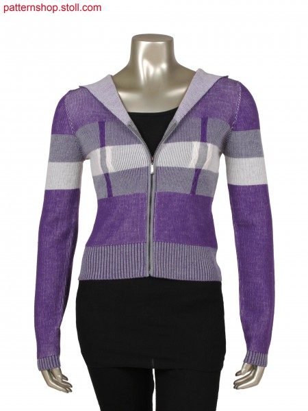 Fully Fashion jacket with integrated hood, half cardigan structure with 3 colours, braided cables in solid colour
