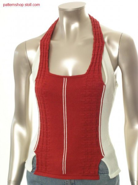 Fitted FF-intarsia halter-neck top in jersey structure / Tailliertes FF-Intarsia Neckholder-Top in Rechts-Links Struktur