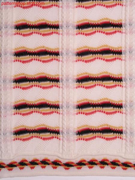Ringed intarsia structure pattern with jacquard bordure / Geringeltes Intarsia-Strukturmuster mit Jacquardbord