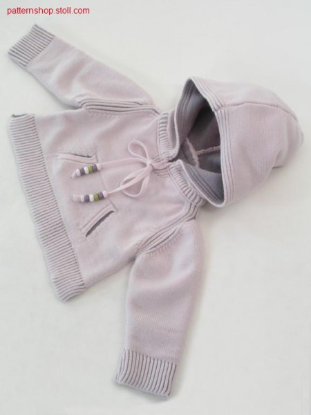 FF-Intarsia baby's hooded pullover with kangaroo pocket / FF-Intarsia Babykapuzenpullover mit K