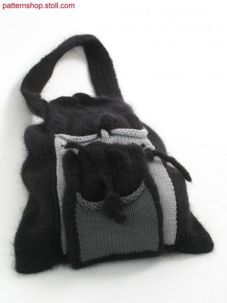 Pouch-bag with patch intarsia-pockets / Beuteltasche mit aufgesetzten Intarsiataschen