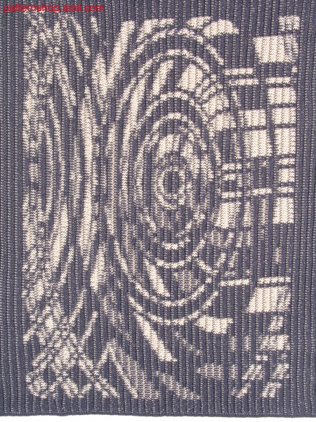 2-colour 3x3 rib with jacquardmotif in cast-off technique / 2-farbige 3x3 Rippe mit Jacquardmotiv in Abwerftechnik