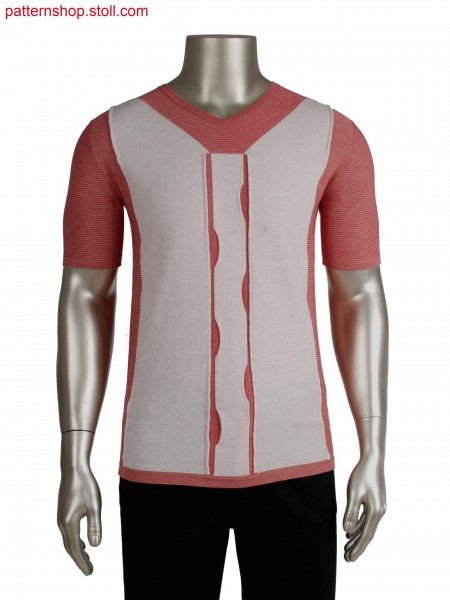 Fully Fashion T-shirt, intarsia with overlapped connection