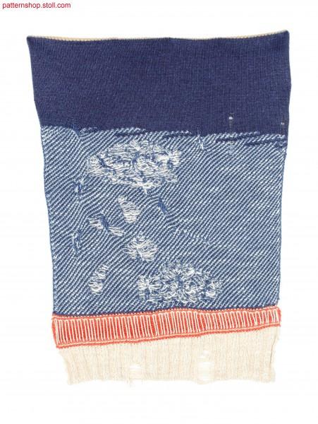 Swatch with coarse 2x2 rib waistband and gore inserts / Musterausschnitt mit groben 2x2 Rippbund und Spickel-Eins
