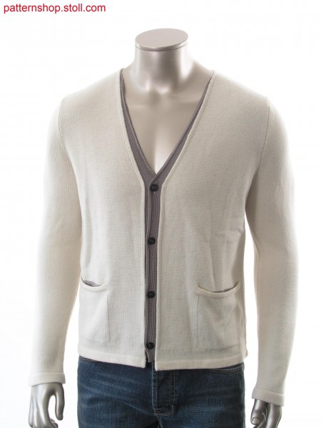 Fully Fashion cardigan, body in layer technique with transferred connection, integrated pocket and shaped placket