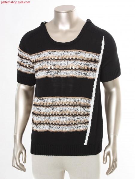 Striped Fully Fashion hooded short-sleeved pullover / Geringelter Fully Fashion Kurzarm-Kapuzenpullover