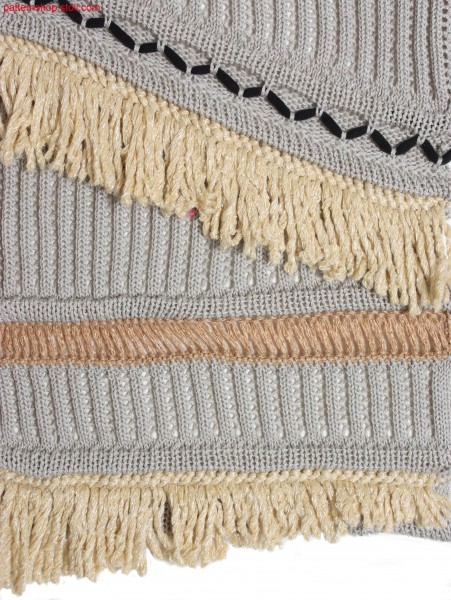 Fringes and wave bordures with ornamental stitches / Petinetstruktur mit Fransen, Wellenbord