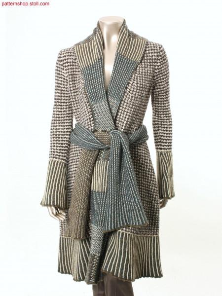 Coat with shawl collar in jersey float transfer structure / Mantel mit Schalkragen in Rechts-Links Flott-Umh