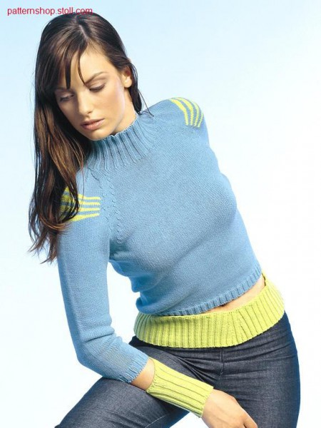 Raglan pullover with open body-sleeves waistbands / Raglanpullover mit offenen Leib-