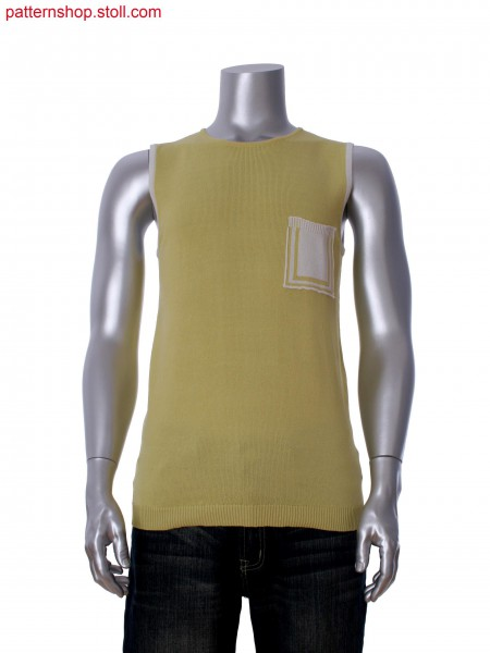 Stoll-applications&reg Fully Fashion 2-color sleeveless pullover with pocket in cross tubular border