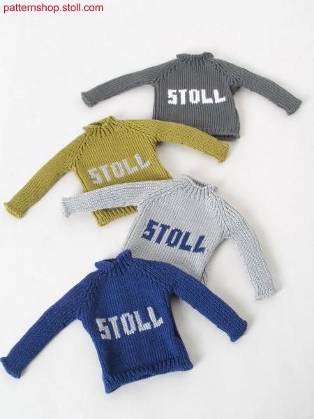 Intarsia jersey mini raglan pullover / Rechts-Links IntarsiaMini-Raglanpullover