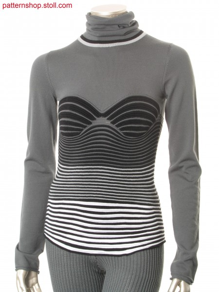 Fitted Fully Fashion pullover with ringed wave pattern / Taillierter Fully Fashion Pullover mit geringeltem Wellenmuster