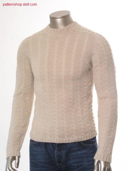 Jersey pullover with 2x3 cables and saddle shoulder / Rechts-Links Pullover mit 2x3 Z