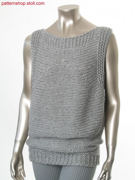 Sleeveless pullover in gored transverse jersey /