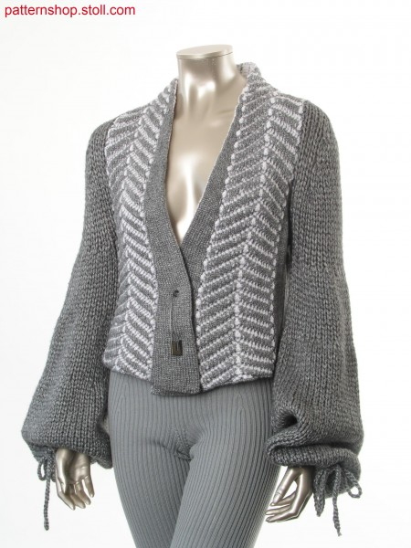 Cardigan with herringbone pattern in wave structure / Strickjacke mit Fischgr