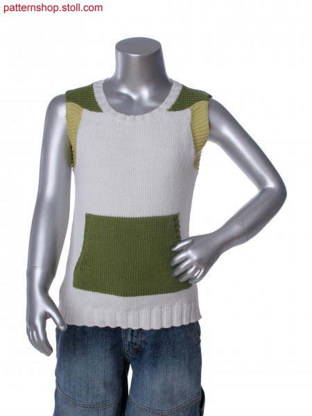 Fully Fashion 3-color intarsia sleeveless pullover with kangaroo pocket and purl structure