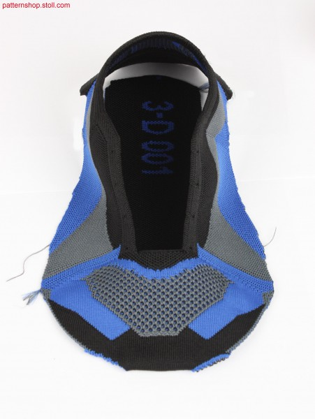 Shoe-upper design idea with knitted on sole / Schuhoberteil-Designidee mit angestrickter Sohle