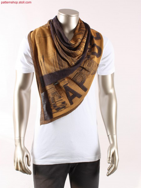 Jersey foulard with inverse plated abstract motif / Rechts-Links Foulard mit abstrakt-wendeplattiertem Motiv